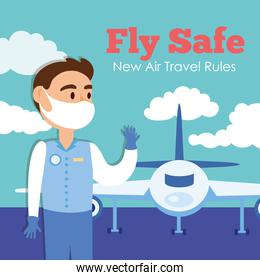 fly safe campaign lettering poster with stewardess and airplane