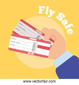 fly safe campaign lettering poster with hands and tickets flight