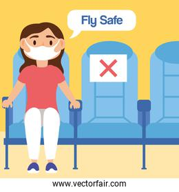fly safe campaign lettering poster with passenger in airplane chairs