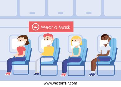 travel safe campaign poster with passengers wearing medical mask in airplane