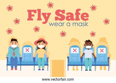 fly safe campaign lettering poster with passengers in airplane chairs