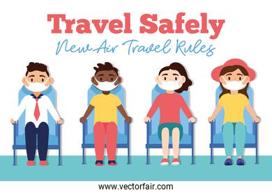 travel safely campaign lettering poster with passengers wearing medical masks in waitroom chairs