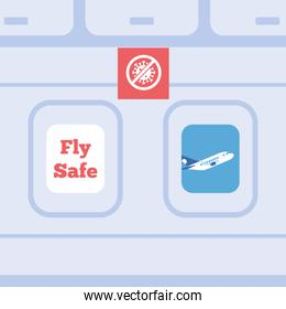 fly safe campaign lettering poster with stop covid signal in airplane