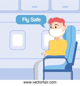 fly safe campaign lettering poster with passenger talking in airplane chair