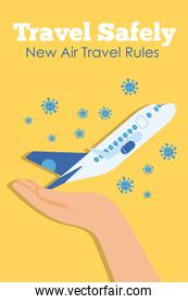 travel safely campaign lettering poster with hand lifting airplane flying and covid19 particles