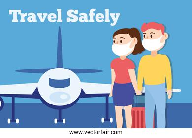 travel safely campaign lettering poster with travelers couple wearing medical masks and airplane