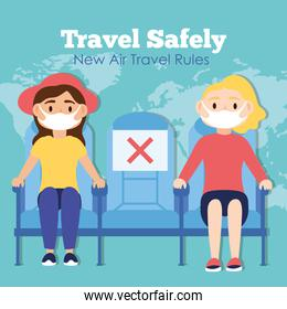 travel safely campaign lettering poster with passengers wearing medical masks in airplane chairs