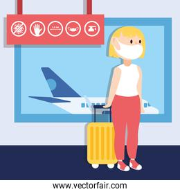 travel safe campaign poster with woman traveler wearing face mask in airport