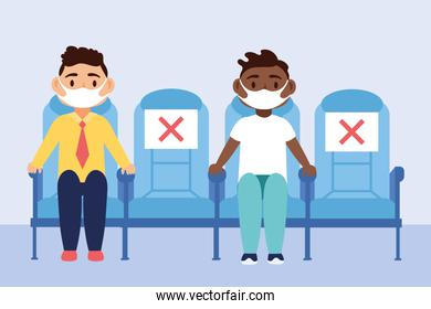 travel safe campaign poster with passengers wearing medical masks seated in chairs