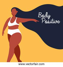 body positive lettering with afro woman perfectly imperfect