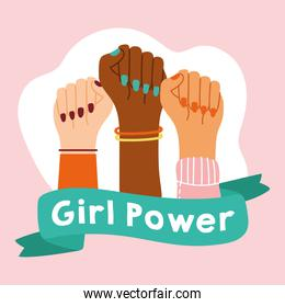 power girl poster with interracial hands with ribbon