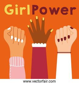 power girl poster with interracial hands up
