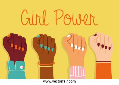 power girl poster with interracial hands up together