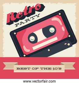 party retro style poster with cassette and ribbon frame