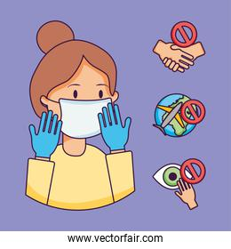 cartoon woman with mouth mask and coronavirus prevention icon set, flat style