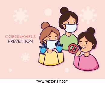 coronavirus prevention concept, cartoon women with mouth masks, flat style