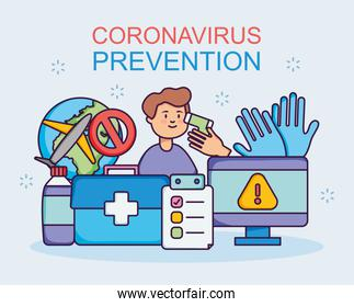 coronavirus prevention design with man and related icons around, flat style