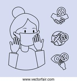 cartoon woman with mouth mask and coronavirus prevention icon set, line style