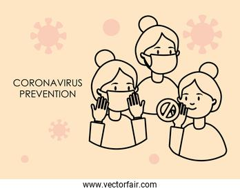 coronavirus prevention concept, cartoon women with mouth masks, line style