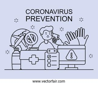 coronavirus prevention   with man and related icons around