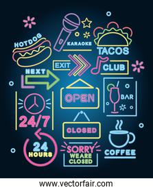 icon set of neon signs, colorful design
