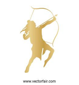 dussehra lord ram with bow and arrow gold silhouette vector design
