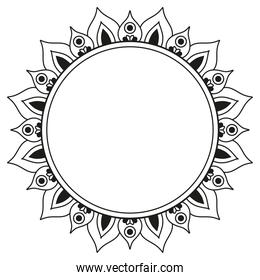 circle black ornament in flower shaped vector design