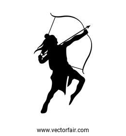 dussehra lord ram with bow and arrow black silhouette vector design