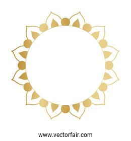 circle gold ornament in flower shaped vector design