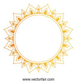 circle gold ornament in flower shaped vector illustration