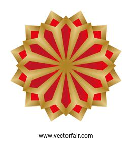 mandala in red and gold flower shaped vector design
