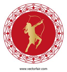 dussehra lord ram gold silhouette on red mandala vector design