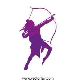dussehra lord ram with bow and arrow purple silhouette vector design