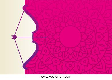 dussehra bow and arrow with pink mandala vector design