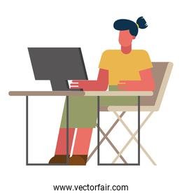 woman with computer at desk working from home vector design