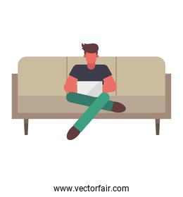 Man with laptop on couch working from home vector design