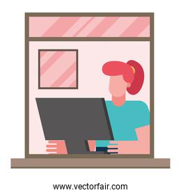 woman with computer working from home window vector design