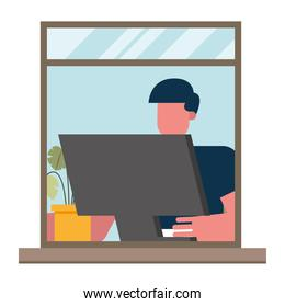 Man with computer working from home window vector design
