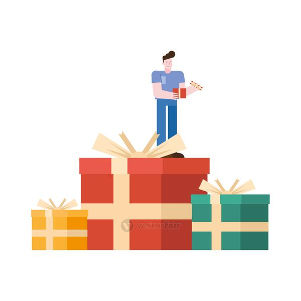 young man lifting gift in gifts character