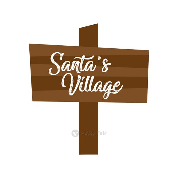 wooden label with santa village lettering