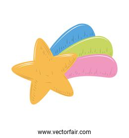 cute shooting star rainbow cartoon decoration icon