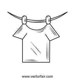 laundry shirt hanging in rope line style icon