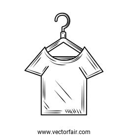 laundry shirt in hanger line style icon