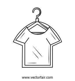 laundry shirt in hanger in a protective package line style icon