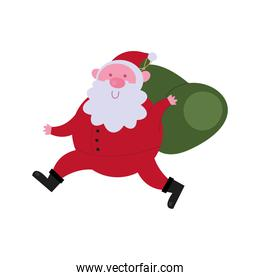 happy merry christmas santa claus running with bag