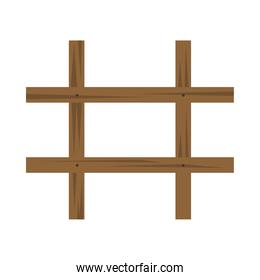wooden fence rustic isolated icon