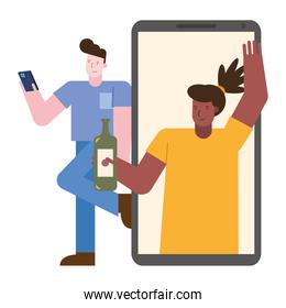 young interracial couple celebrating with wine in smartphones