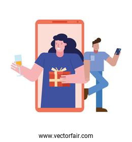 young couple celebrating with gift and wine in smartphone