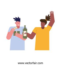 young interracial couple celebrating with wine and gift