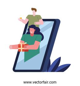young couple celebrating with gift in smartphone